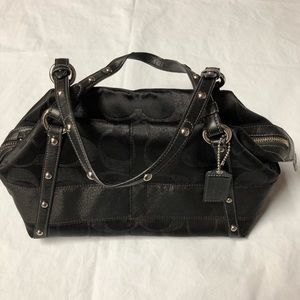 Coach 12910-Black metallic canvas leather tote